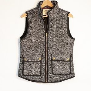 Cambridge Dry Goods Zip Up Vest Black White Med